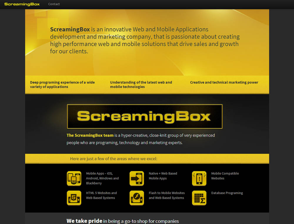 Screamingbox.com has a new look - the new site for mobile app development and marketing is up and running.