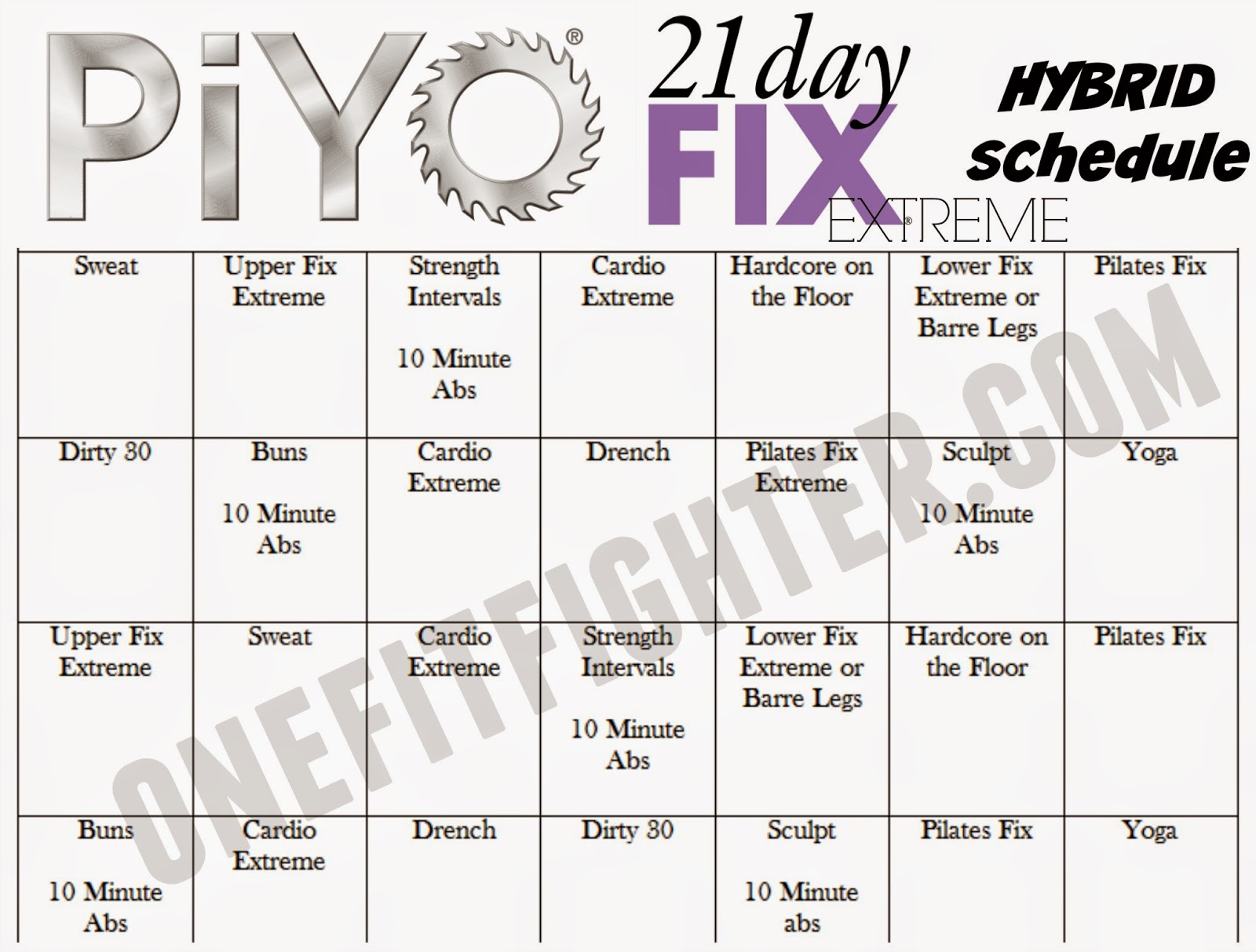 piyo fix hybrid schedule, fix and piyo hybrid
