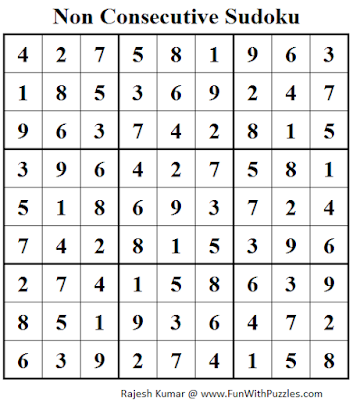 Non Consecutive Sudoku (Fun With Sudoku #57) Solution