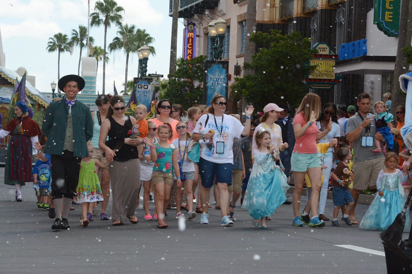 Kids participate in Anna and Elsa's Royal Welcome Procession