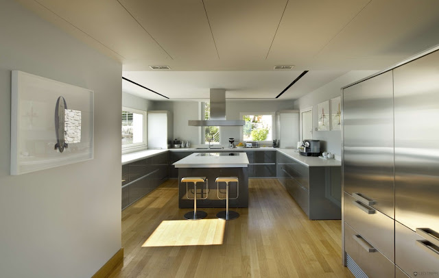 Modern kitchen with silver modern furniture