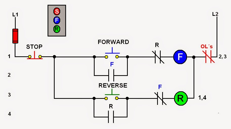 forward reverse motor control diagram