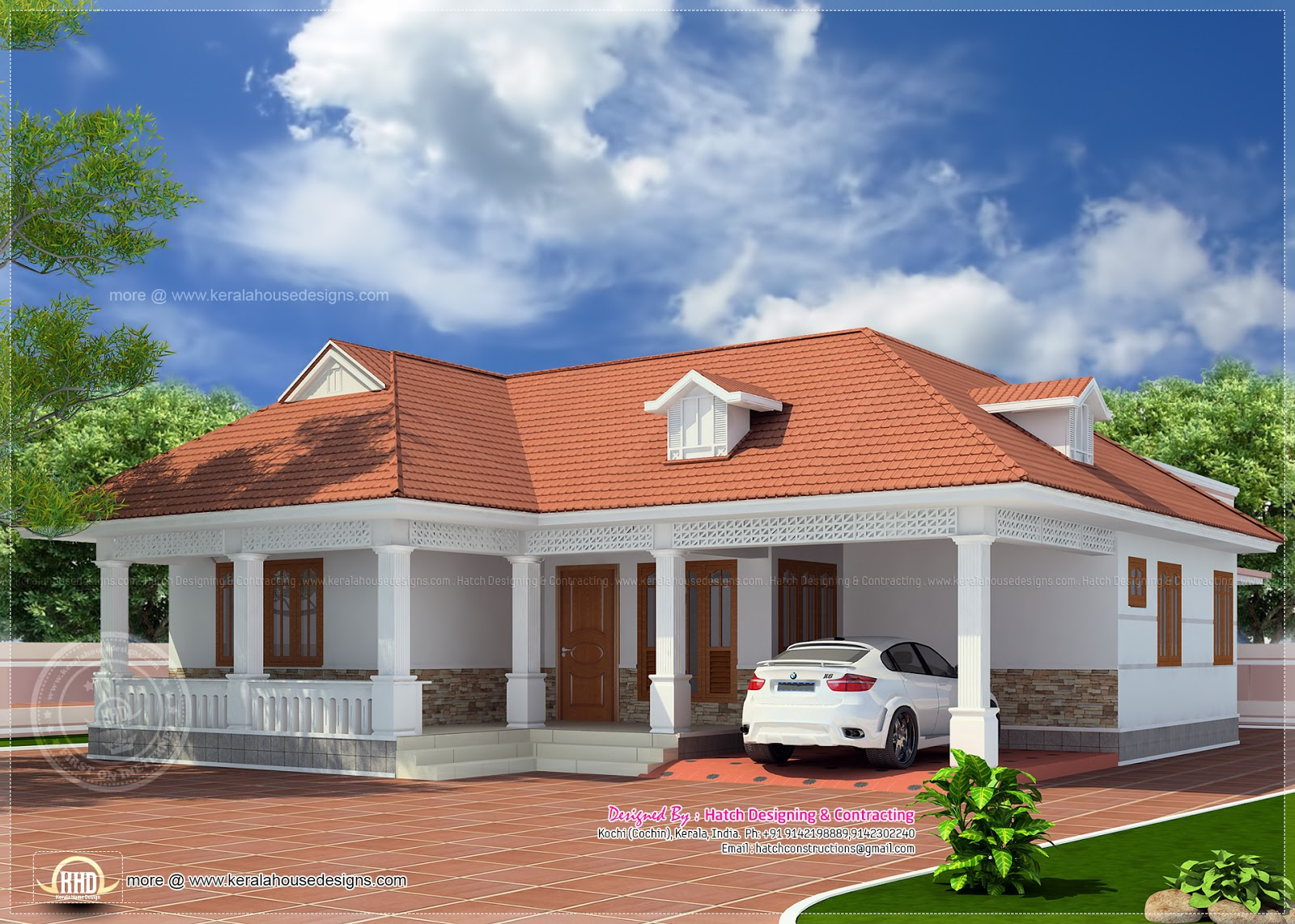 1850 kerala style home elevation kerala home for Kerala single floor house plans