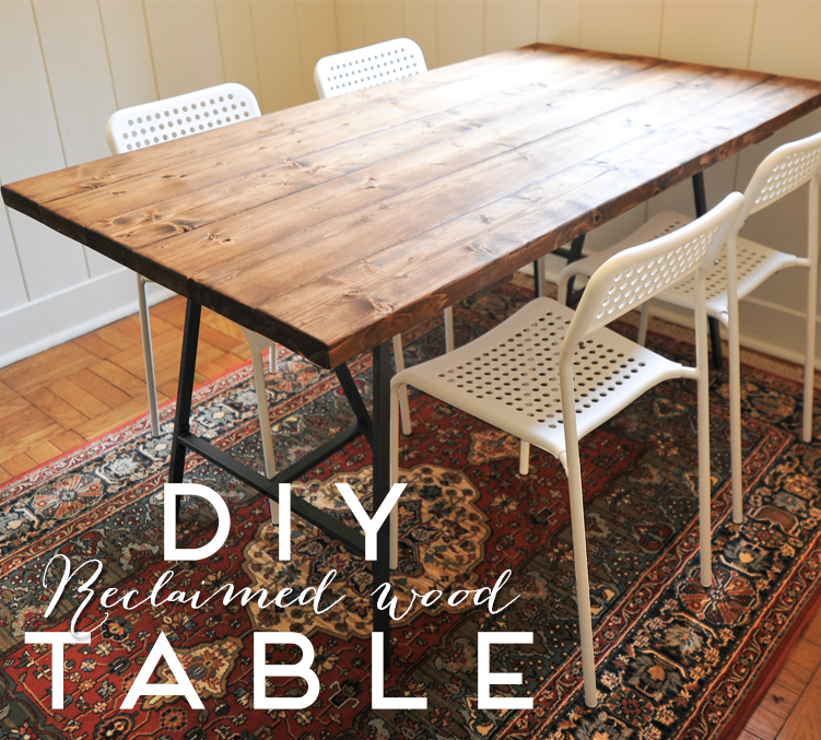 DIY Reclaimed Wood Dining Table IKEA hack