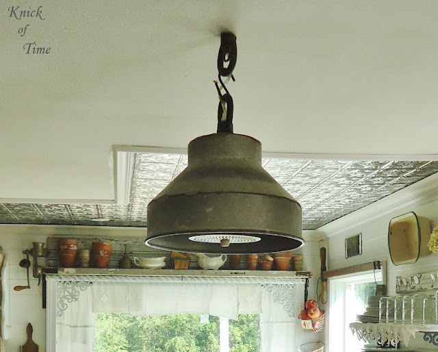 Repurposed vintage milk can lid as farmhouse light - www.KnickofTime.net