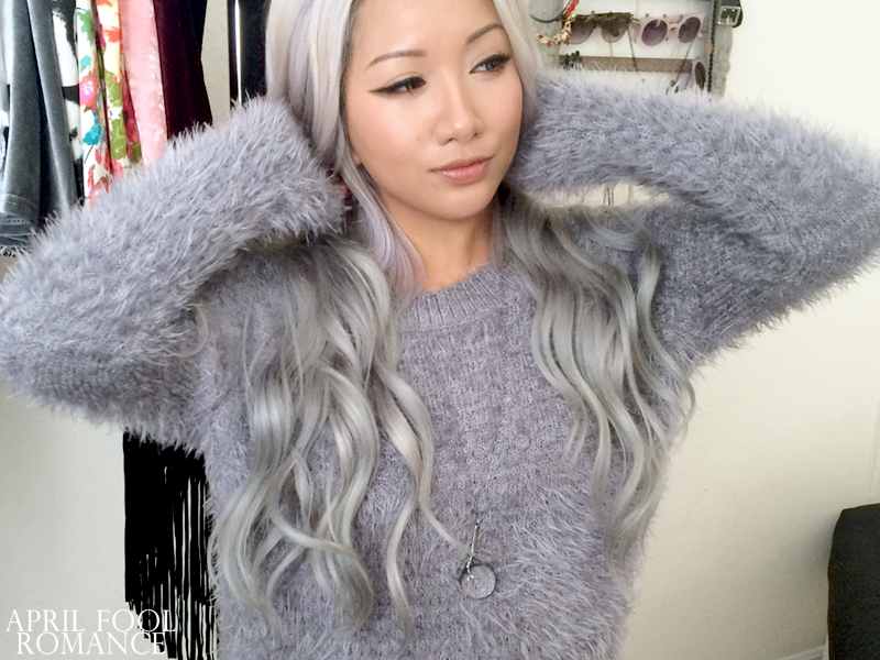 April Fool Romance: Gray Fuzzy Sweater from TrinityStyles.net!