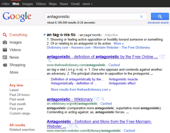 A New Interface For Google Search Results Pages