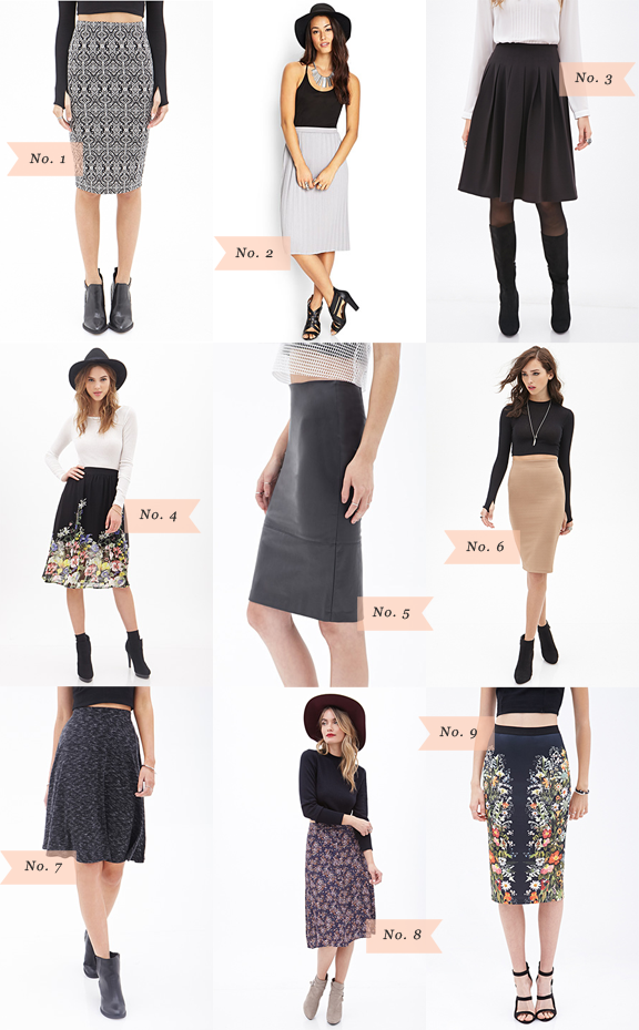 Über Chic for Cheap: Must Have: Forever 21 Knee Length Skirts