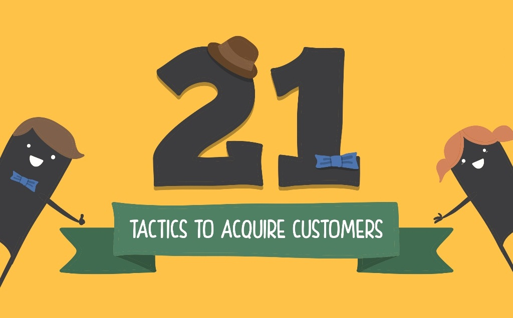 How to Grow Your Startup on web: 21 Tactics To Acquire Customers - an infographic for all size of brands and businesses