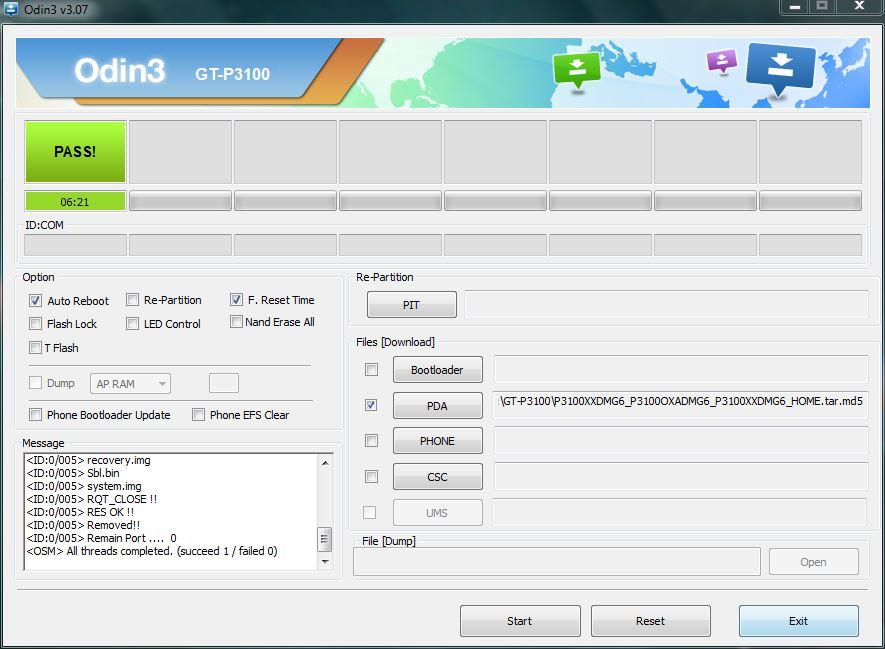 Screenshot 1: Flashing Firmware via Odin