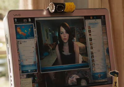 Emma Stone having a computer web chat