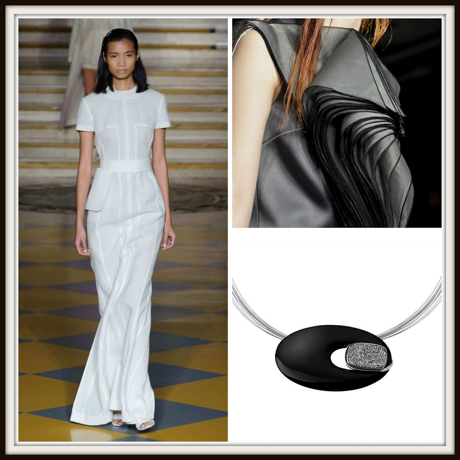 LFW2015, NYFW2015, Emilia Wickstead, black, white, monochrome, black jewelry, white jewelry, statement pendants