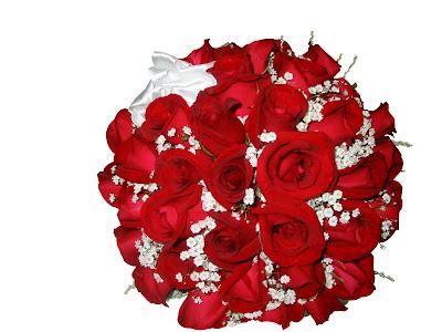buque de rosas vermelha redondo