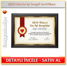 2014 Yılın En İyi Sevgili Sertifikası