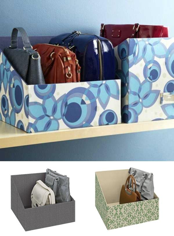 Organização de bolsas em caixas