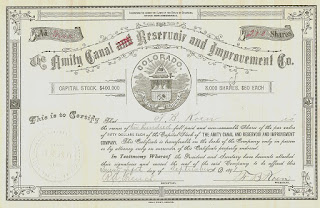 Amity Canal, Reservoir and Improvement Company, share certificate from 1891