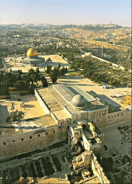 Masjid al-Aqsa dan Masjid Kubah Emas (Kipat Hasela) yang disangka Masjid al-Aqsa