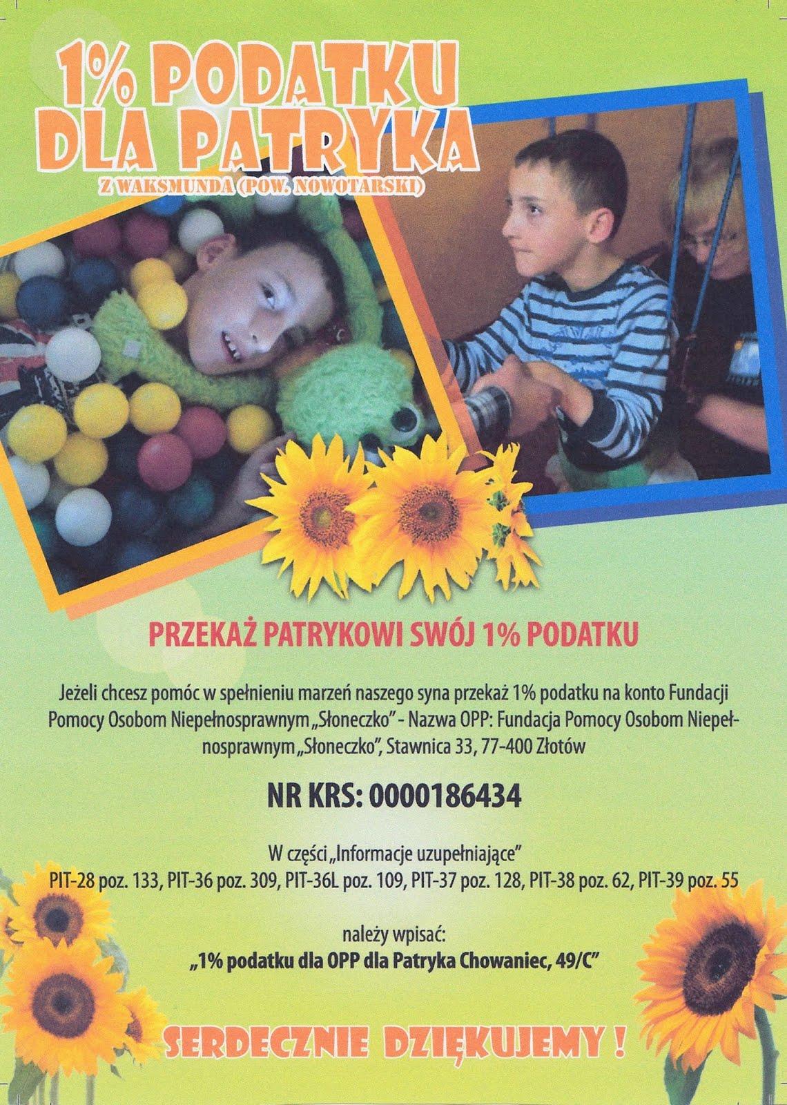Pomóżmy Patrykowi    NR KRS: 0000186434