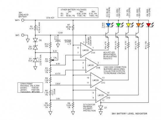 Battery Level Indicator 36 Volts Schematic Circuit