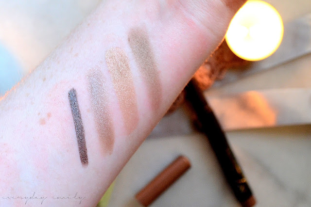 Makeup swatches left to right H&M eyeliner in over the taupe, Pixi eye palette in rich gold shades two and four, No7 Stay Perfect shade and define stick in cool mink