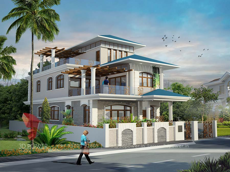 3d animation 3d rendering 3d walkthrough 3d interior for Architectural designs for bungalows