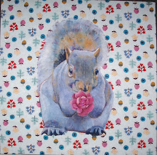 'Squirrel With Flower On Rain'