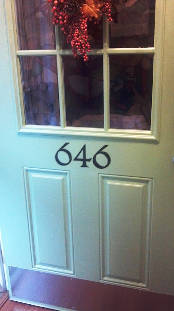 House number on door