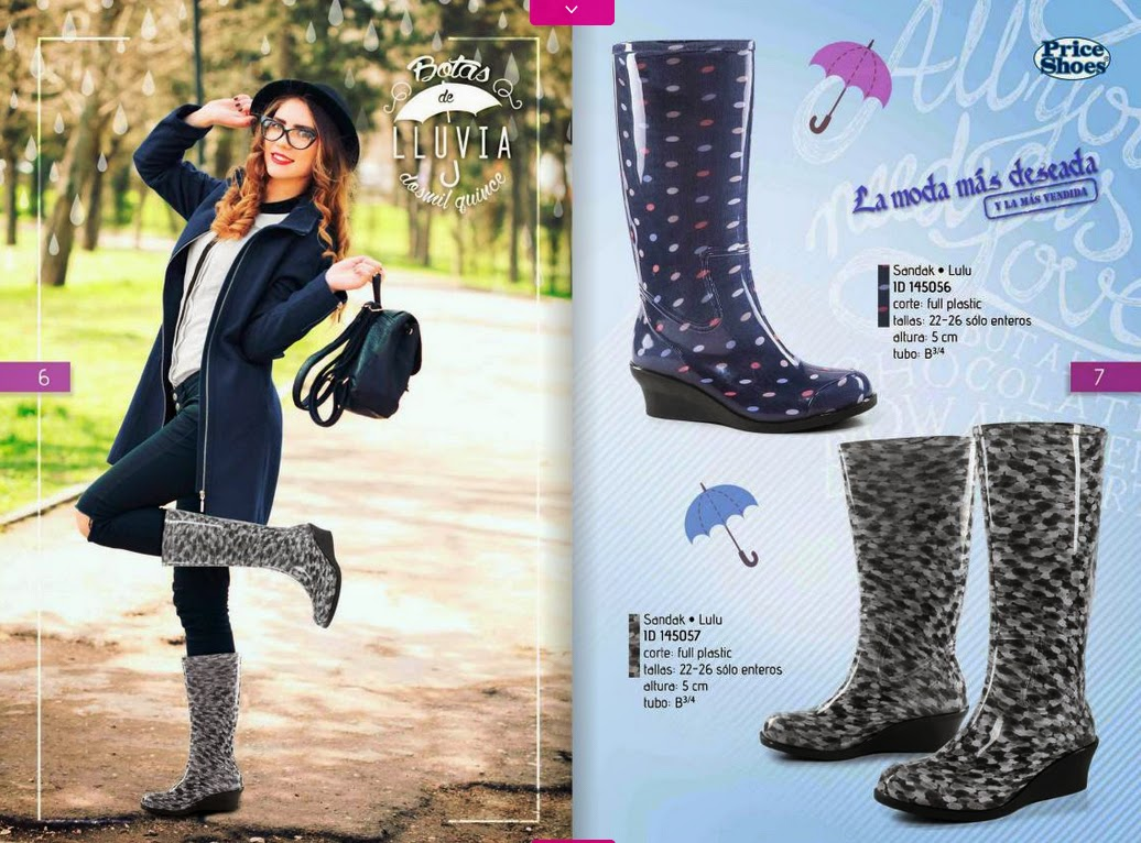 botas de lluvia Price shoes 2015