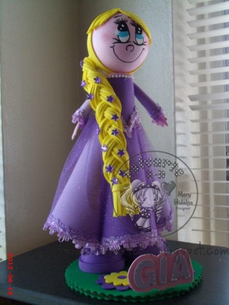 Decoracion Rapunzel Globos ~ Recuerdo Centro de mesa de Rapunzel con adorno de globos