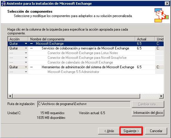 Asistente para la instalación de Microsoft Exchange - Quitar componentes.