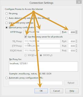 Firefox Manual proxy configuration