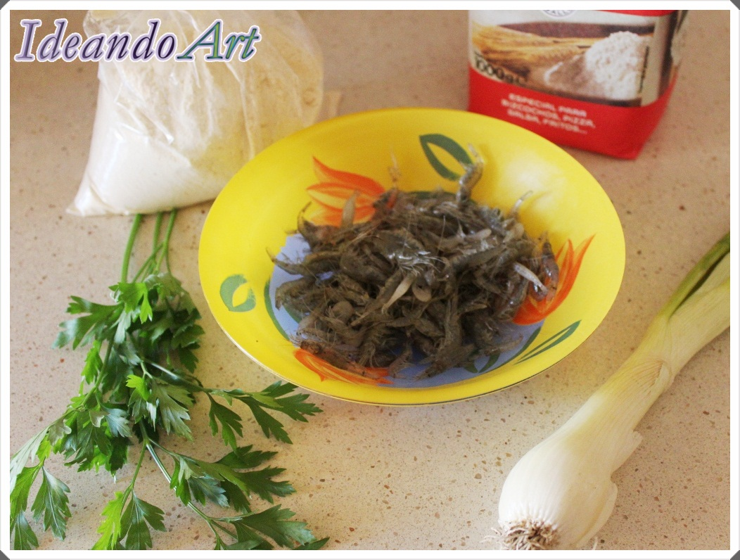 Ingredientes tortillitas camarones