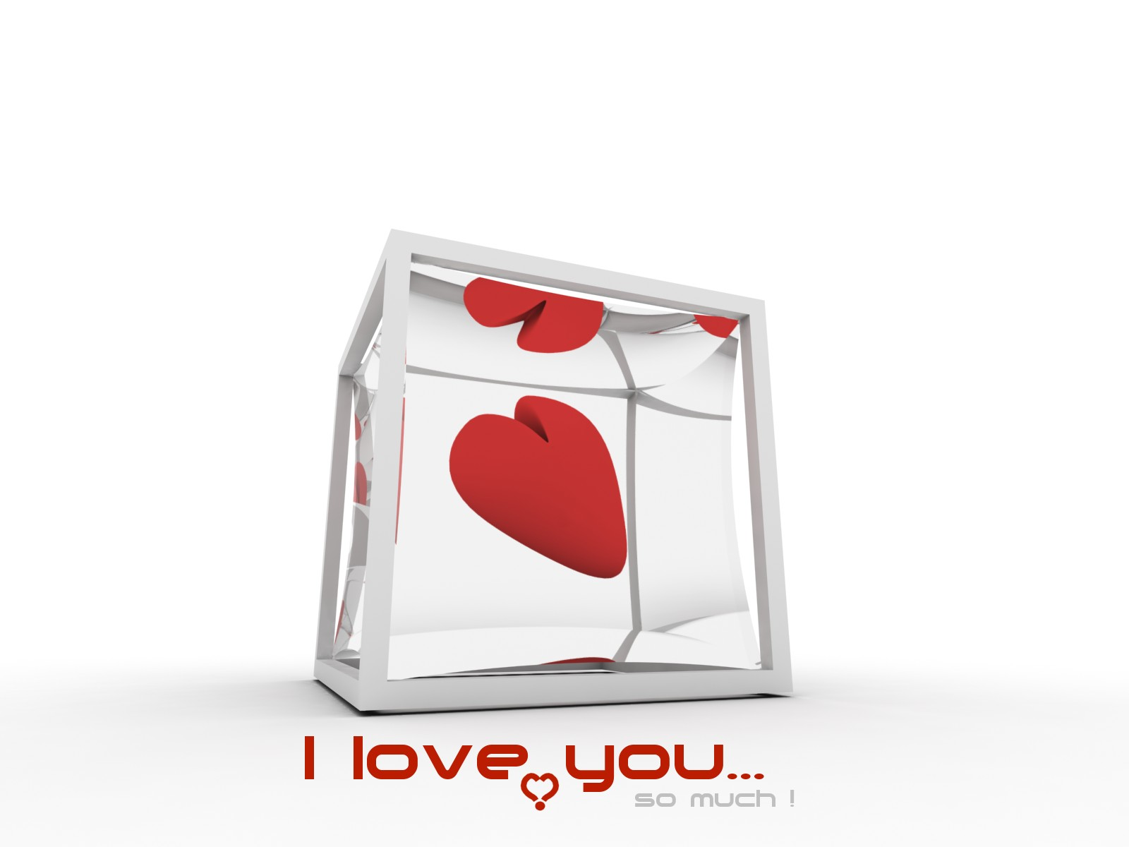 I Love You So much 3D Heart in cube HD Wallpaper HD Desktop Wallpapers