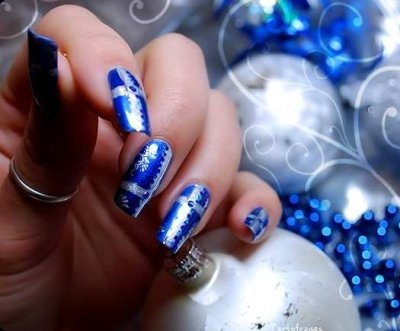 christmas new year nail art tutorial blue ombre nails with - Blue Christmas Nails