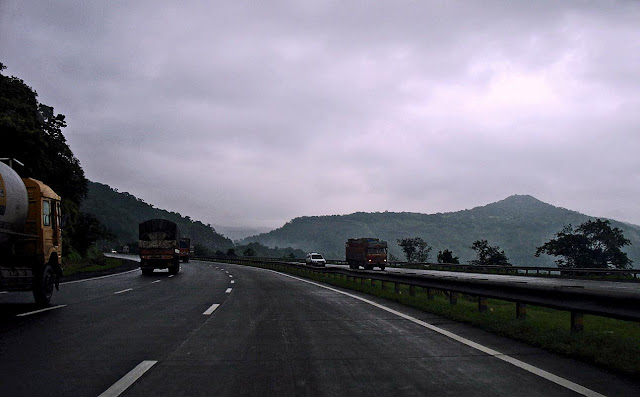 The ghat section of the Mumbai Pune Expressway