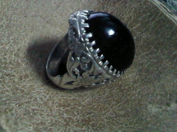 akik hitam + silver