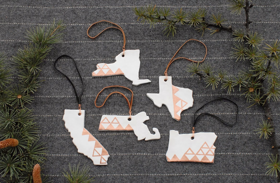 a living space: Clay and Copper Geometric State and Mountain Ornaments