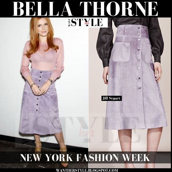 Bella Thorne in purple suede a-line midi skirt 70s style new york fashion week 2015