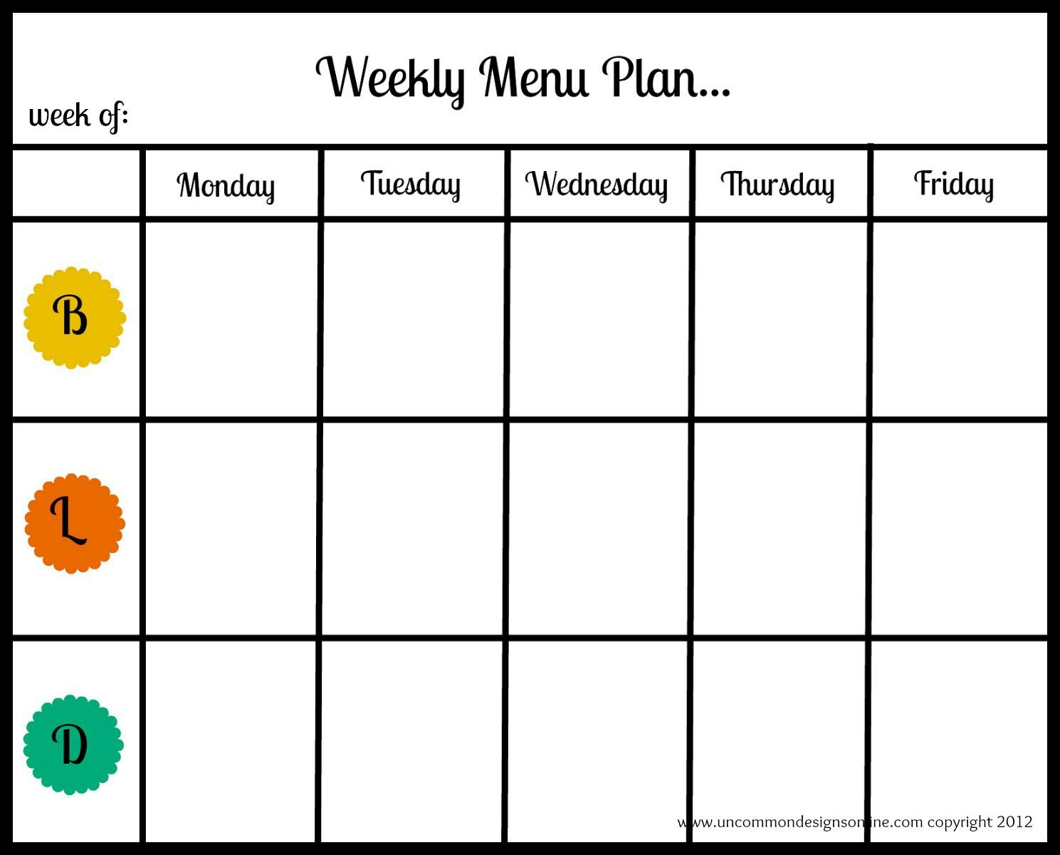 Best Quality Printable Weekly Dinner Menu Planner 1489 x 1200 · 149 ...