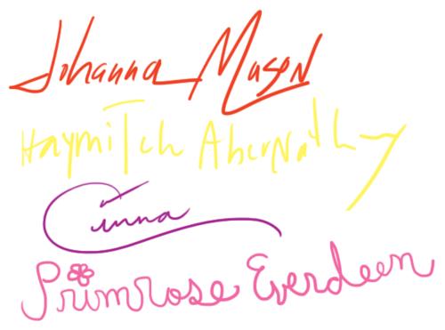 Firmas de los personajes de THG