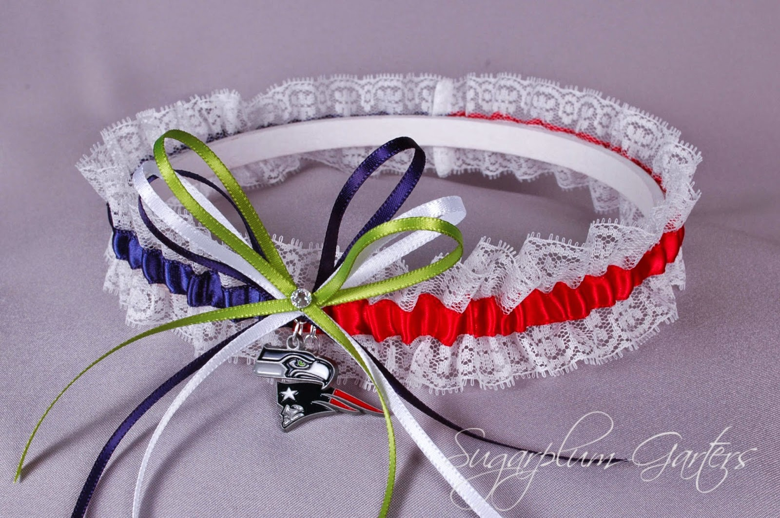 Superbowl XLIX Seattle Seahawks vs New England Patriots Rival Lace Garter by Sugarplum Garters