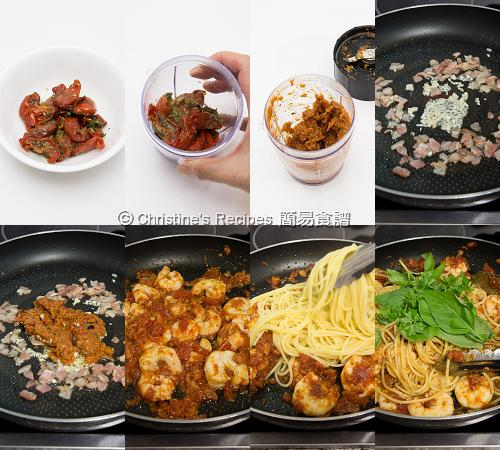 日曬蕃茄燴蝦意大利麵製作圖 How To Make Spaghetti with Prawns and Sundried Tomatoes