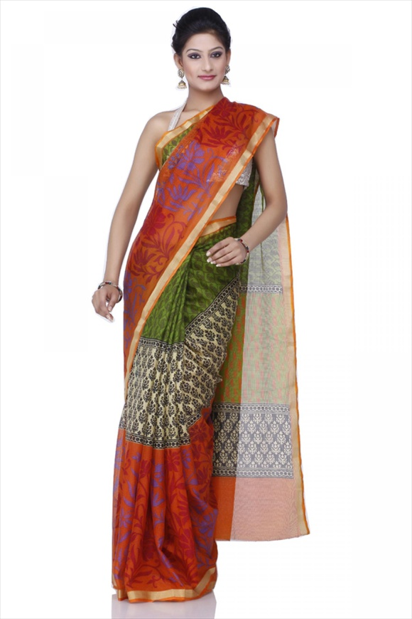 Flame Orange Net Saree new