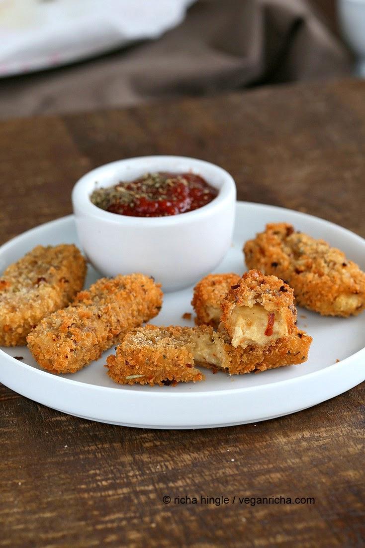 Vegan Mozzarella Sticks - Baked or Fried with Cashew Mozzarella Recipe ...