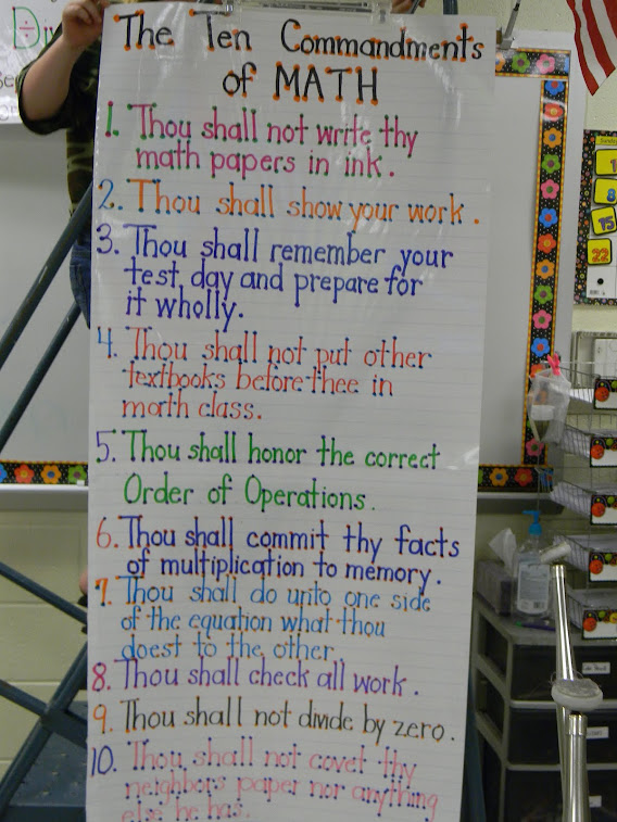 The Ten Commandments of Math Anchor Chart