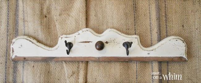 Salvaged wood with a vintage finial and hooks from Denise on a Whim