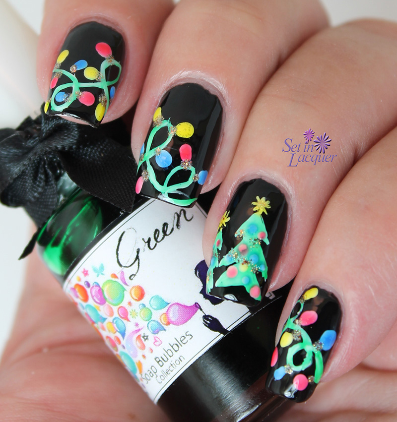 Christmas tree and lights nail art