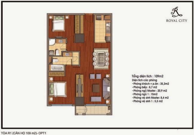 Chi tiết thiết kế căn hộ toà R1 chung cư Royal City diện tích 109 m2