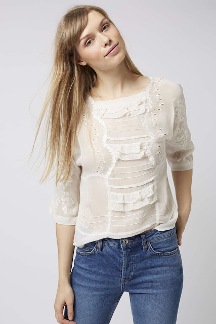 topshop white embroderie top, white embroidered blouse,