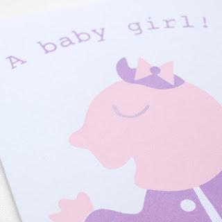 Baby girl screen printed card by welaughindoors close up